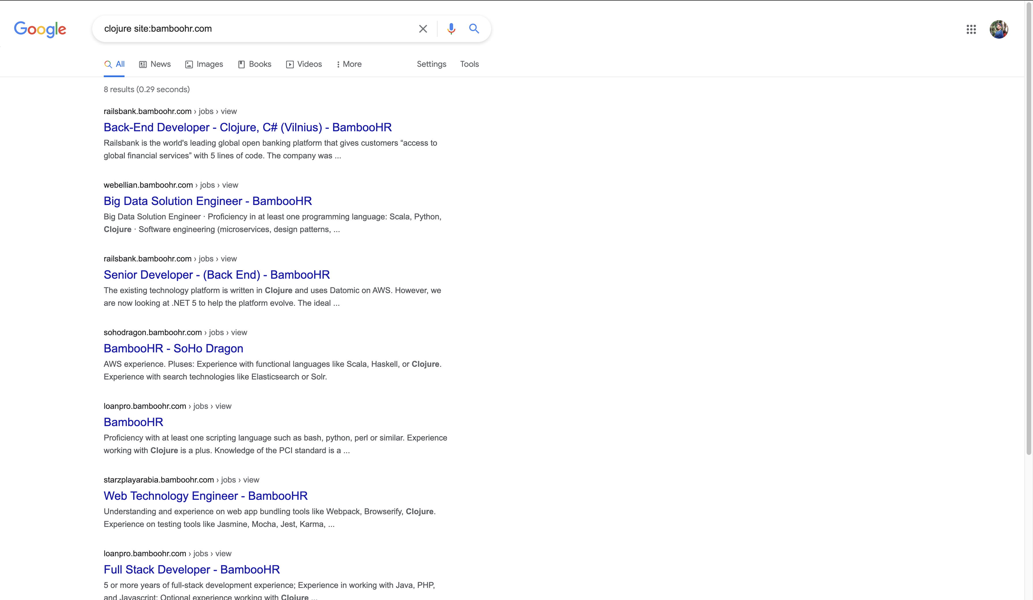 Google search for Clojure jobs on Bamboo HR
